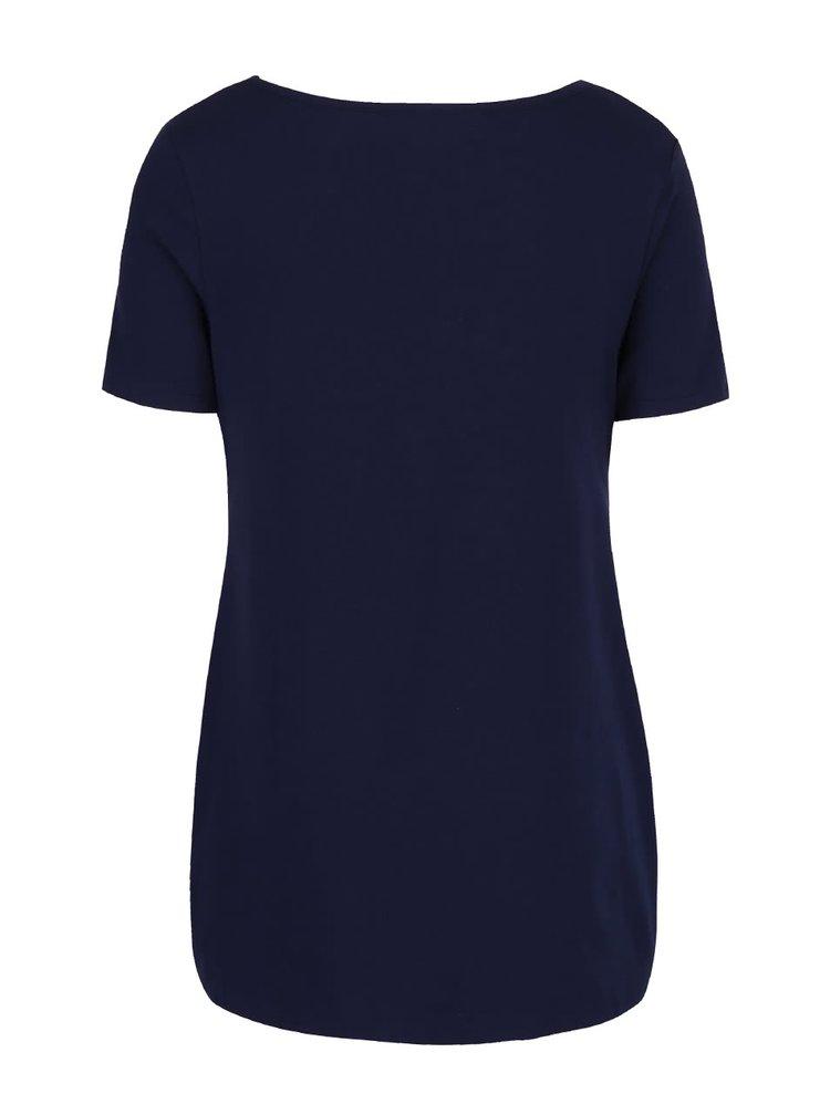 Modré těhotenské tričko s bílou vsadkou Dorothy Perkins Maternity