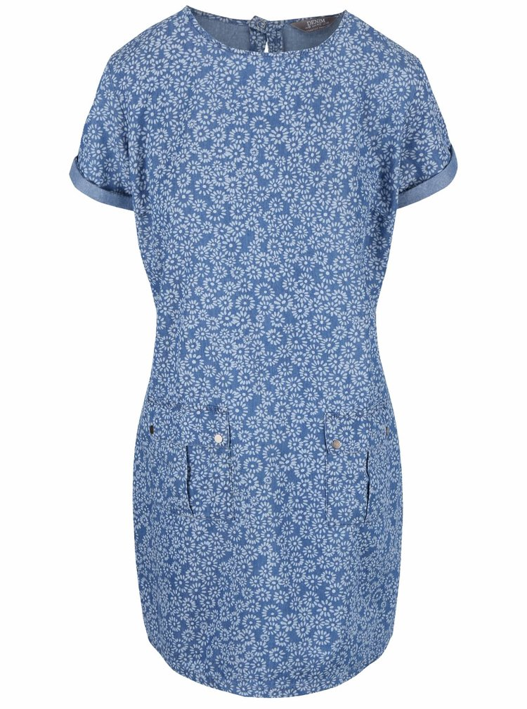 Modré vzorované denimové šaty s kapsami Dorothy Perkins