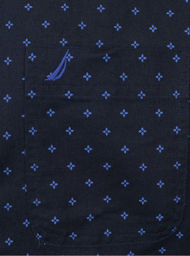 Tmavomodrá pánska vzorovaná ľanová košeľa s krátkym rukávom Nautica