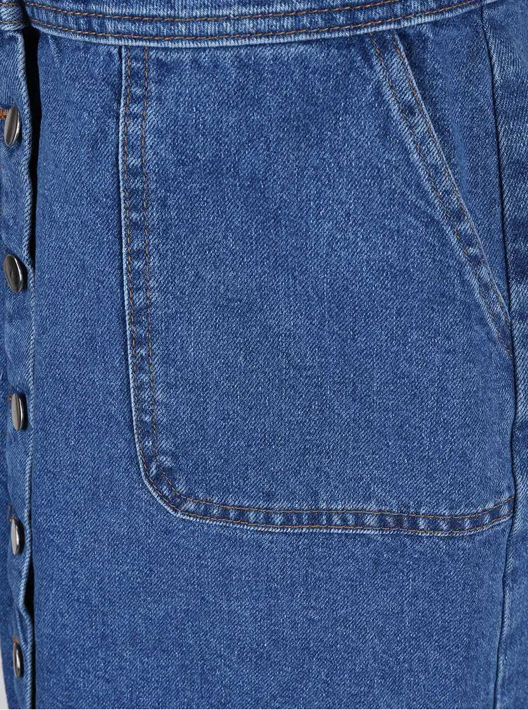 Modré zapínacie šaty s trakmi Dorothy Perkins