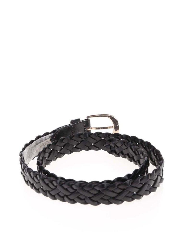 Černý kožený proplétaný pásek Pieces Avery