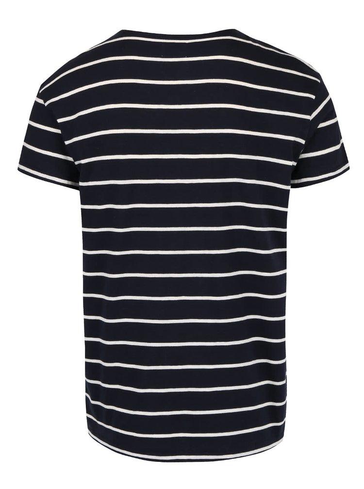 Tmavě modré pruhované triko Selected Homme Garret