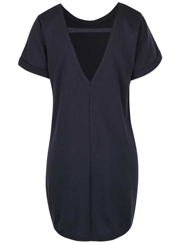 Modrošedé volnější šaty s kapsami VILA Tinny