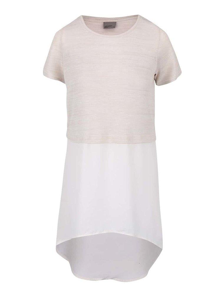 Krémovo-béžové dlhé tričko VERO MODA Juca