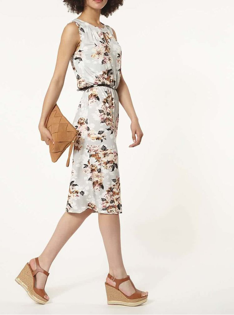 Šedé květované šaty s páskem  Dorothy Perkins