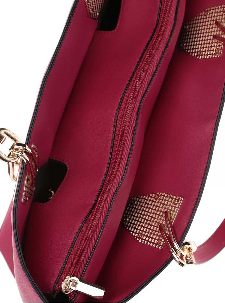 Růžová kabelka do ruky s detaily ve zlaté barvě Gessy