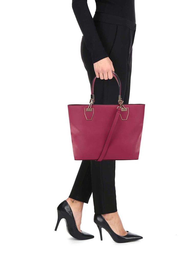 Ružová kabelka do ruky s detailmi v zlatej farbe Gessy