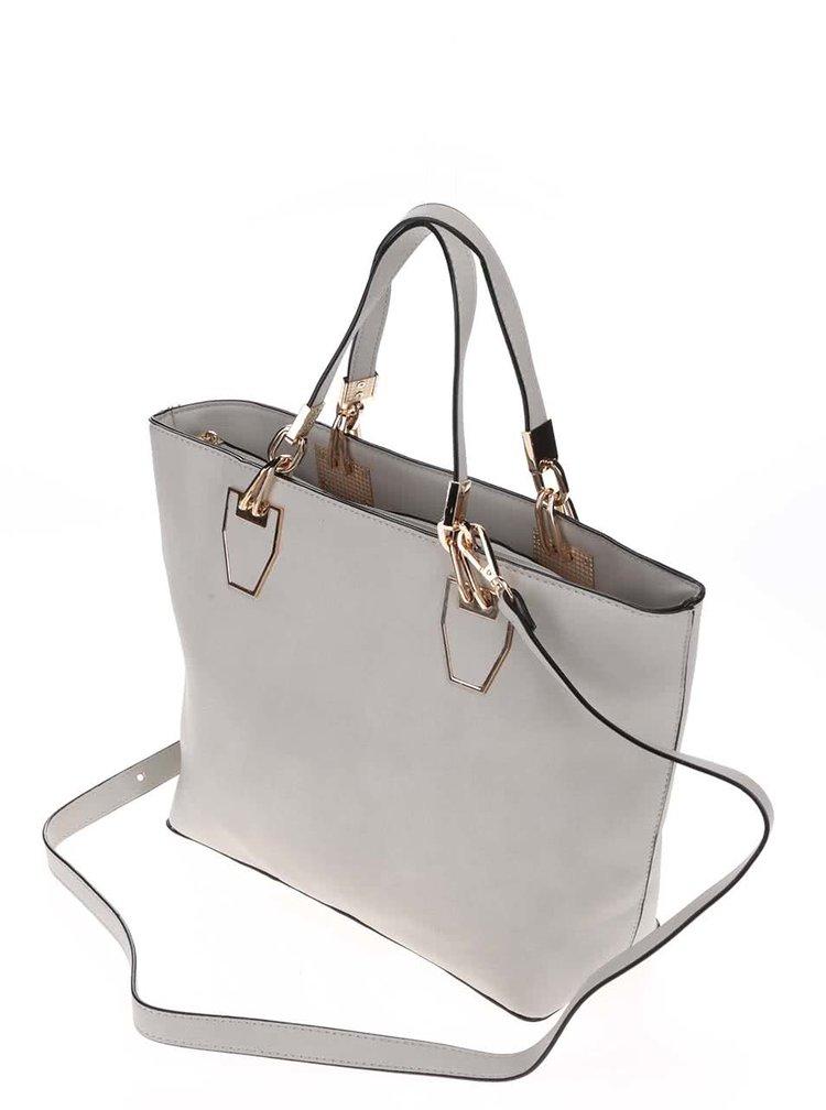 Světle šedá kabelka do ruky s detaily ve zlaté barvě Gessy