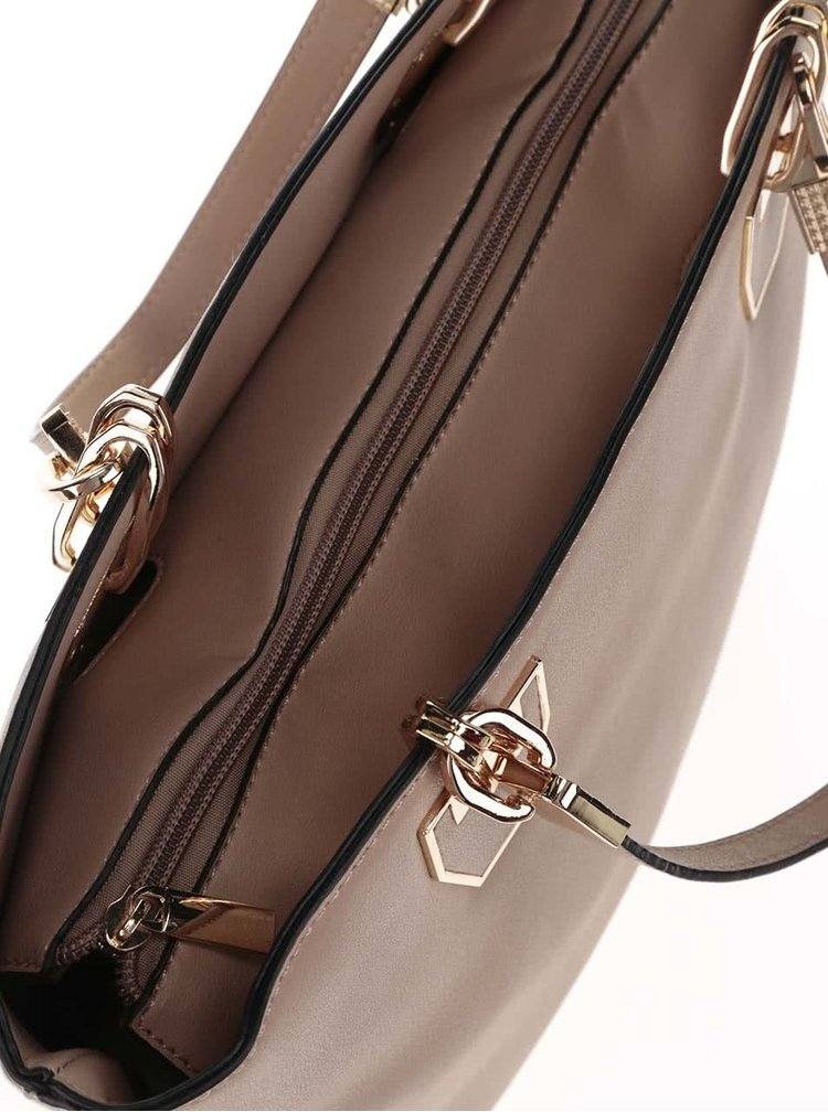 Světle hnědá kabelka do ruky s detaily ve zlaté barvě Gessy