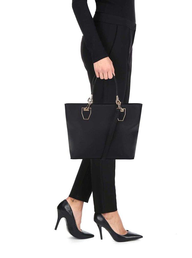 Čierna kabelka do ruky s detailmi v zlatej farbe Gessy