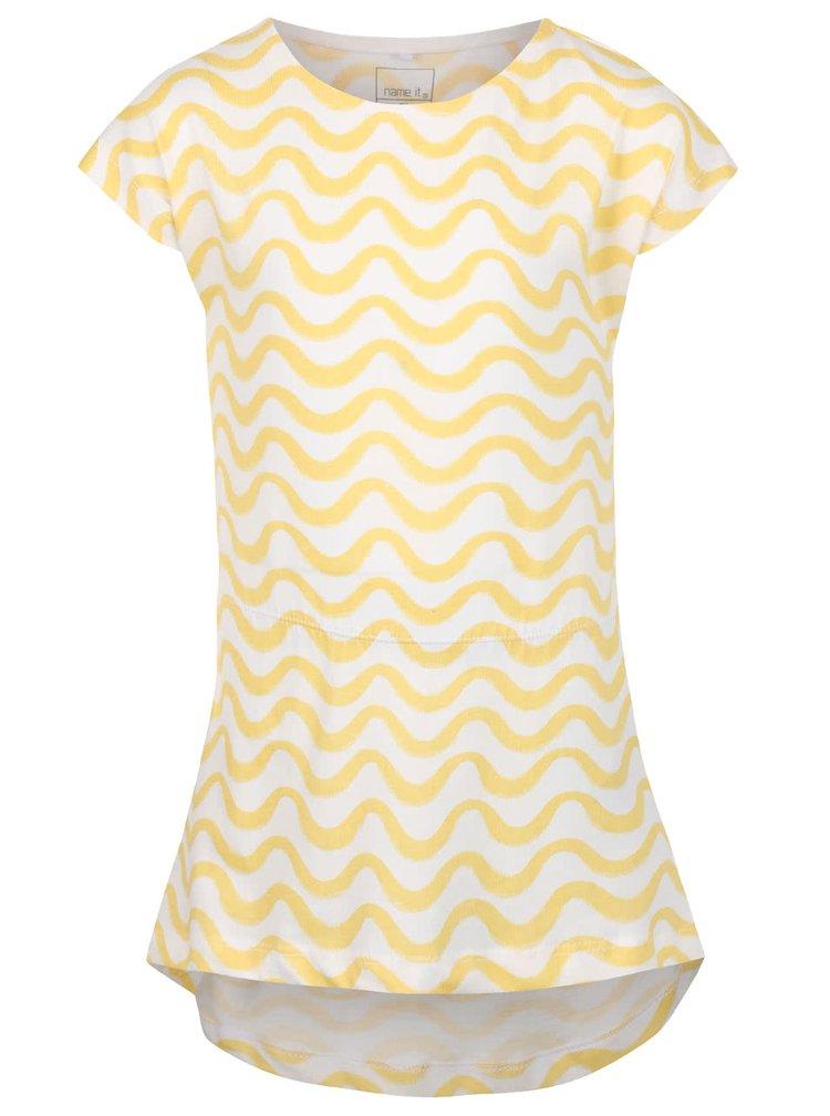 Krémovo-žlté dievčenské vzorované šaty name it Tvigga