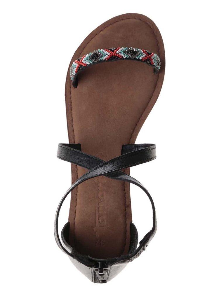 Sandale Tamaris negre-maro