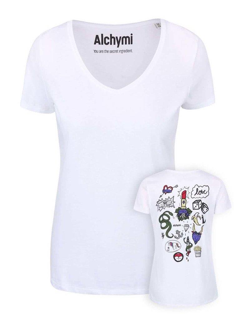 Bílé tričko s potiskem na zádech Alchymi