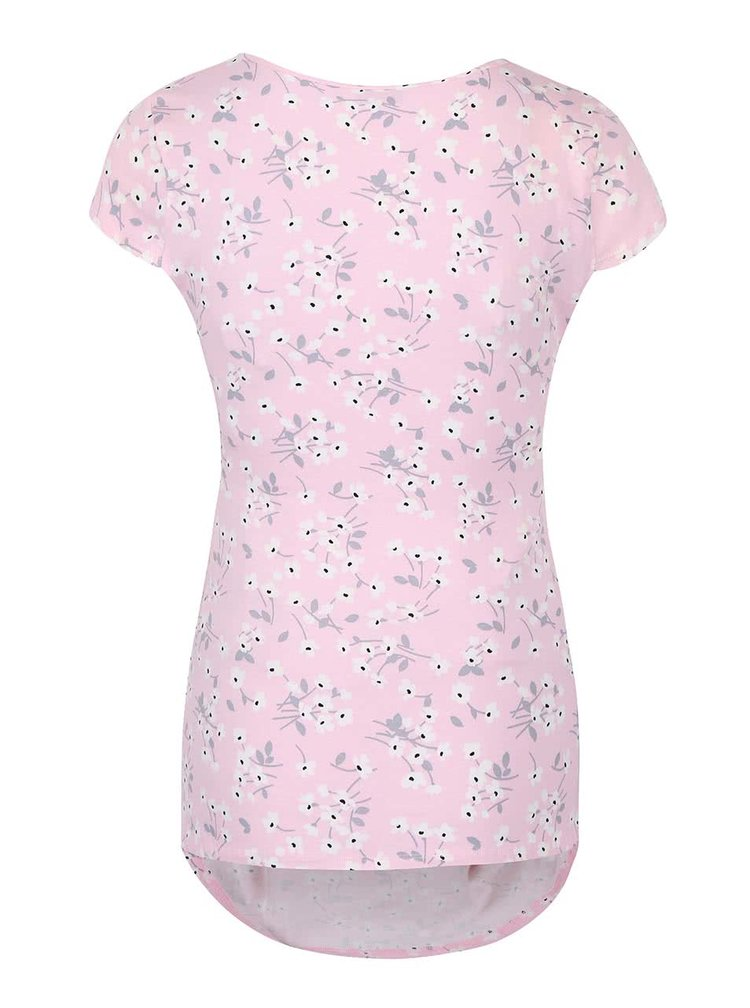 Růžové těhotenské tričko s květinovým vzorem Dorothy Perkins Maternity