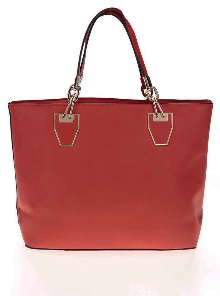 Geantă Gessy roșie cu detalii aurii