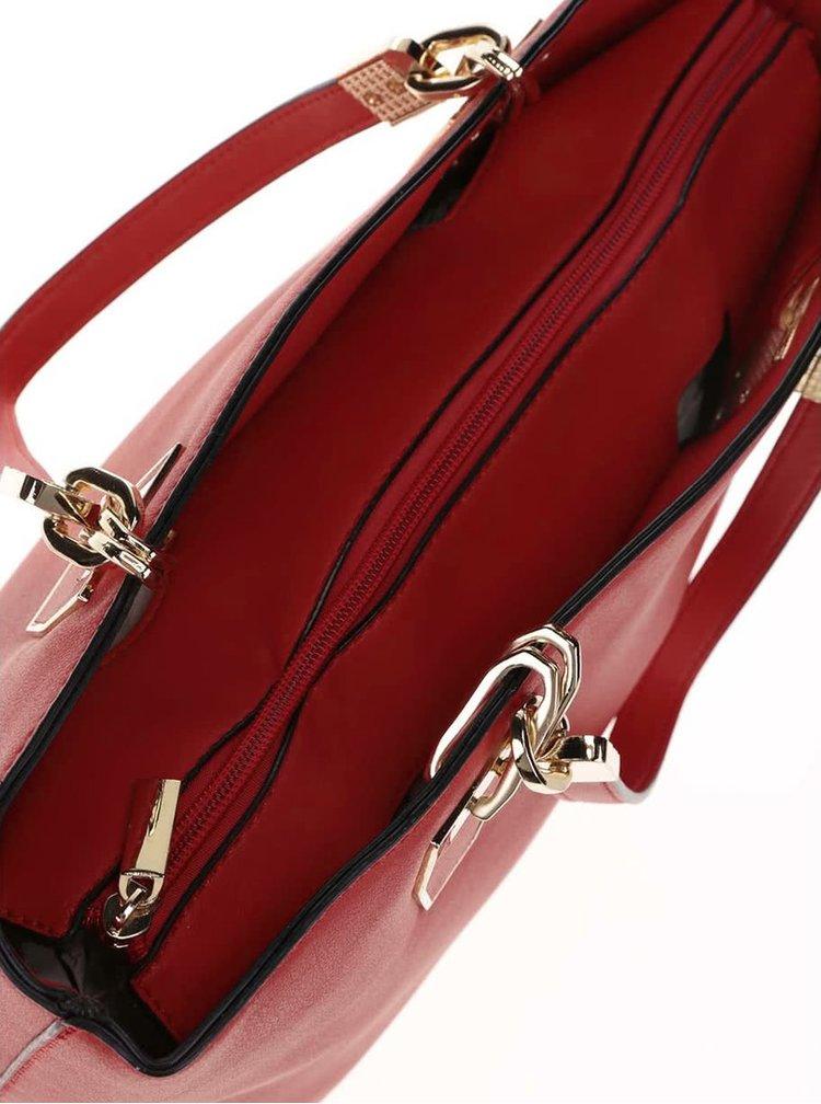 Geanta Gessy rosie cu detalii aurii