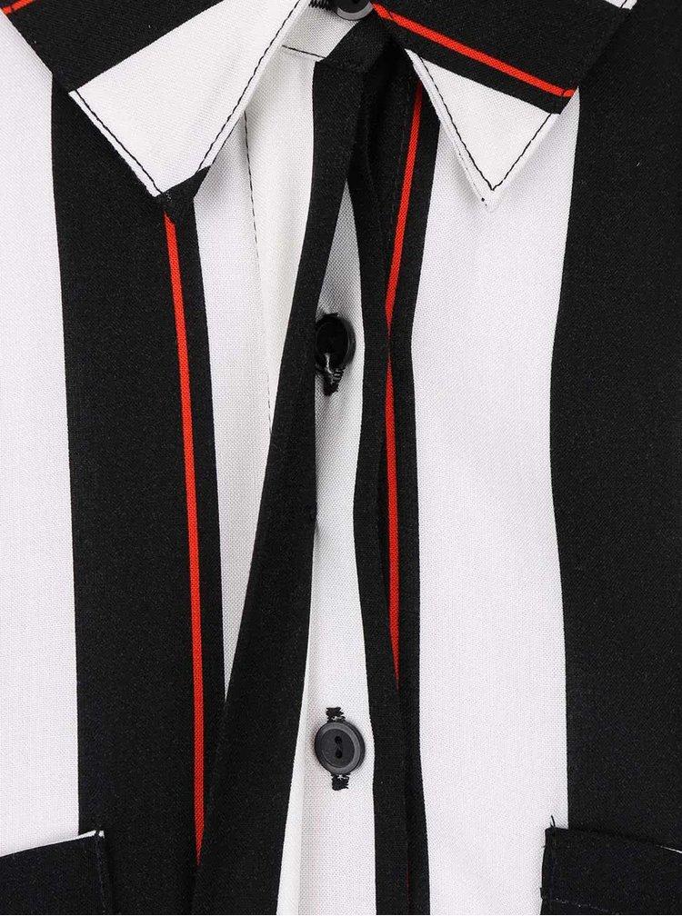 Krémovo-černé pruhované maxišaty s límečkem Dorothy Perkins