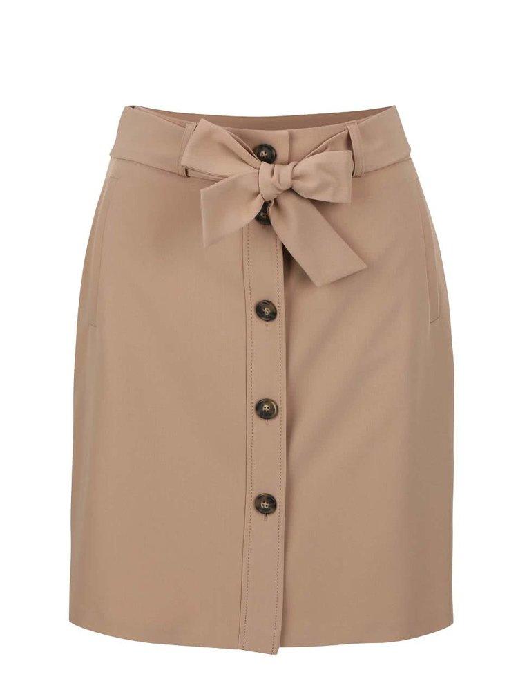Světle hnědá sukně na knoflíky Dorothy Perkins