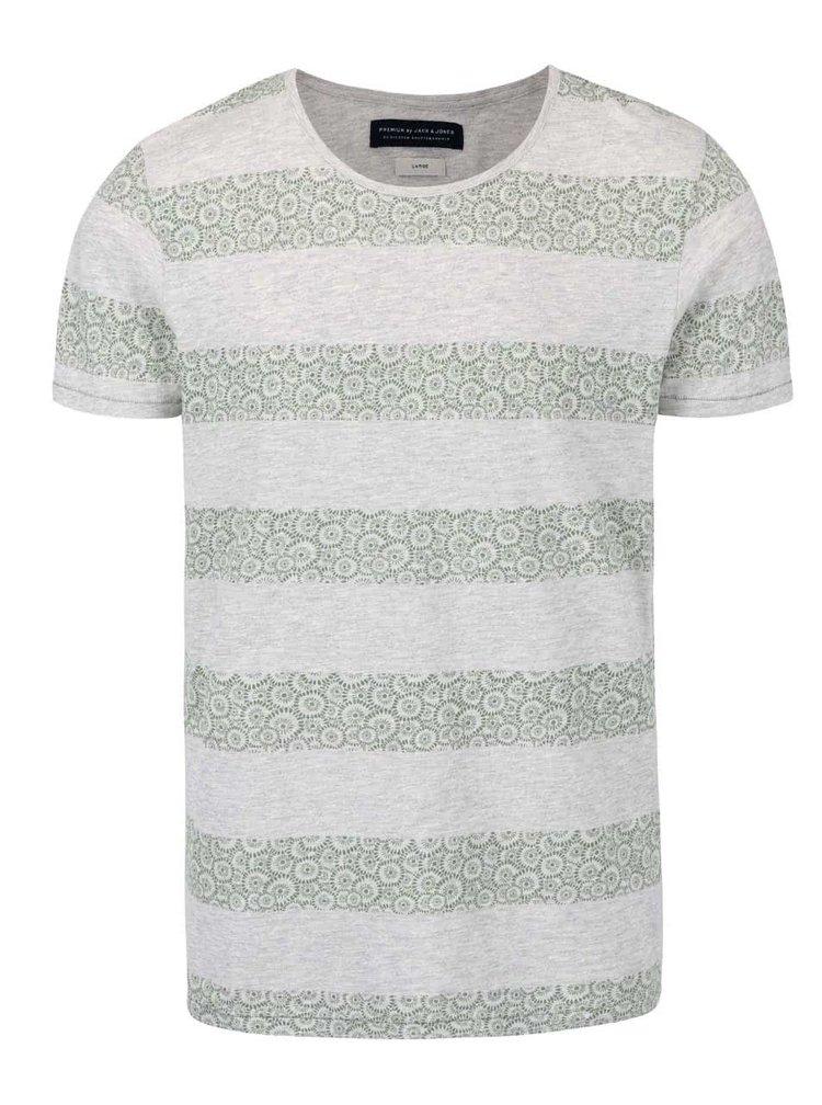 Šedé žáhané triko se zelenými vzorovanými pruhy Jack & Jones Baltimore