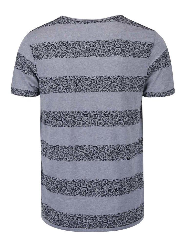 Modrošedé žíhané triko s modrými vzorovanými pruhy Jack & Jones Baltimore