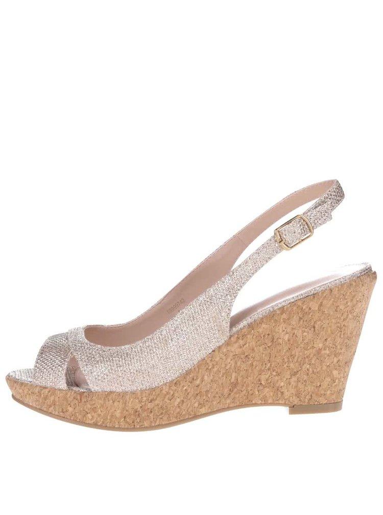 Metalické sandále v zlatej farbe na korkovej platforme Dorothy Perkins