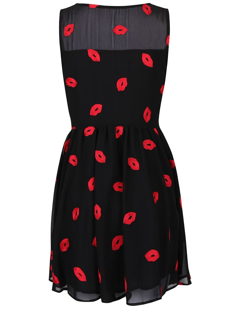 Černé šaty s vyšitým motivem rtů Anna Smith