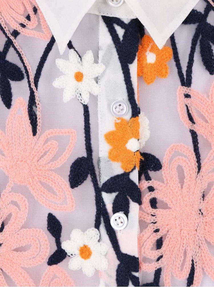 Krémová propínací halenka s výšivkou květin Anna Smith