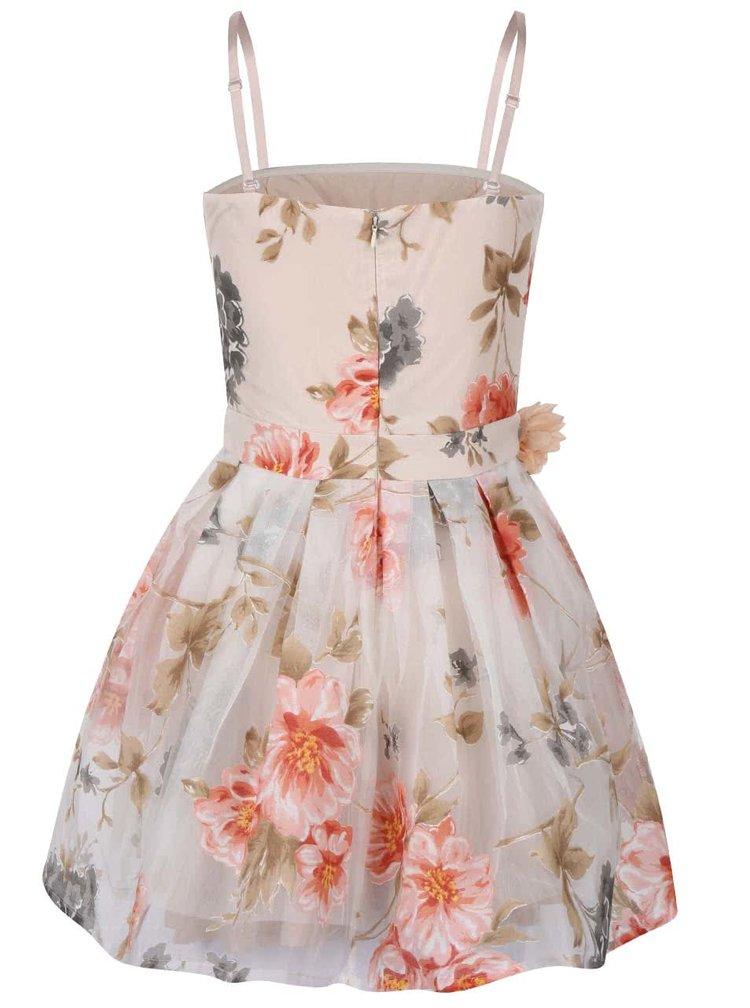 Krémové šaty s barevným květovaným potiskem Anna Smith