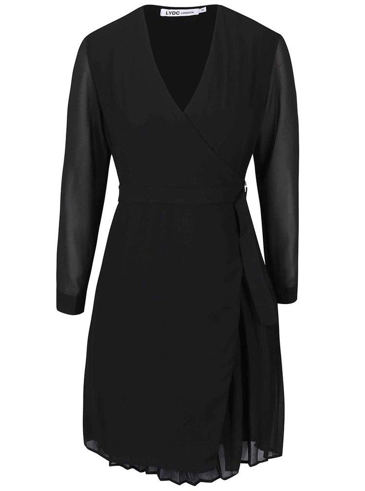 Čierne zavinovacie šaty s dlhým rukávom LYDC