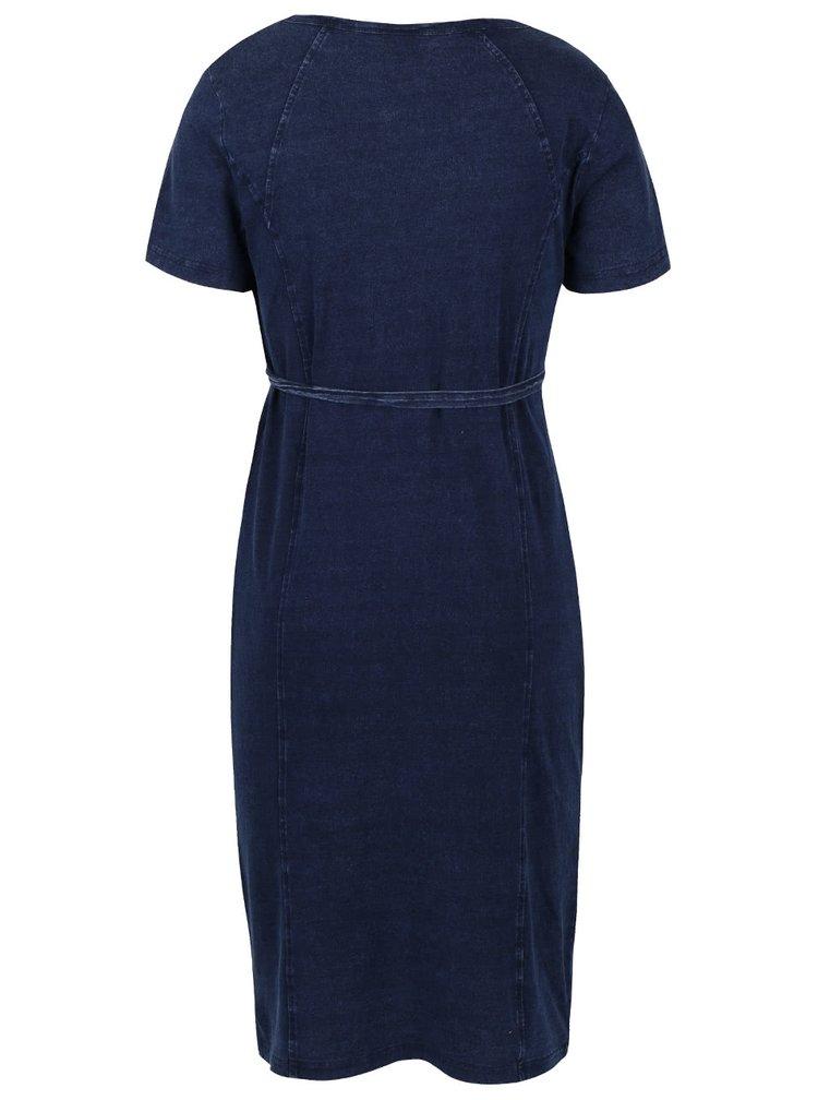 Tmavě modré těhotenské šaty s džínovým designem Mama.licious Wash