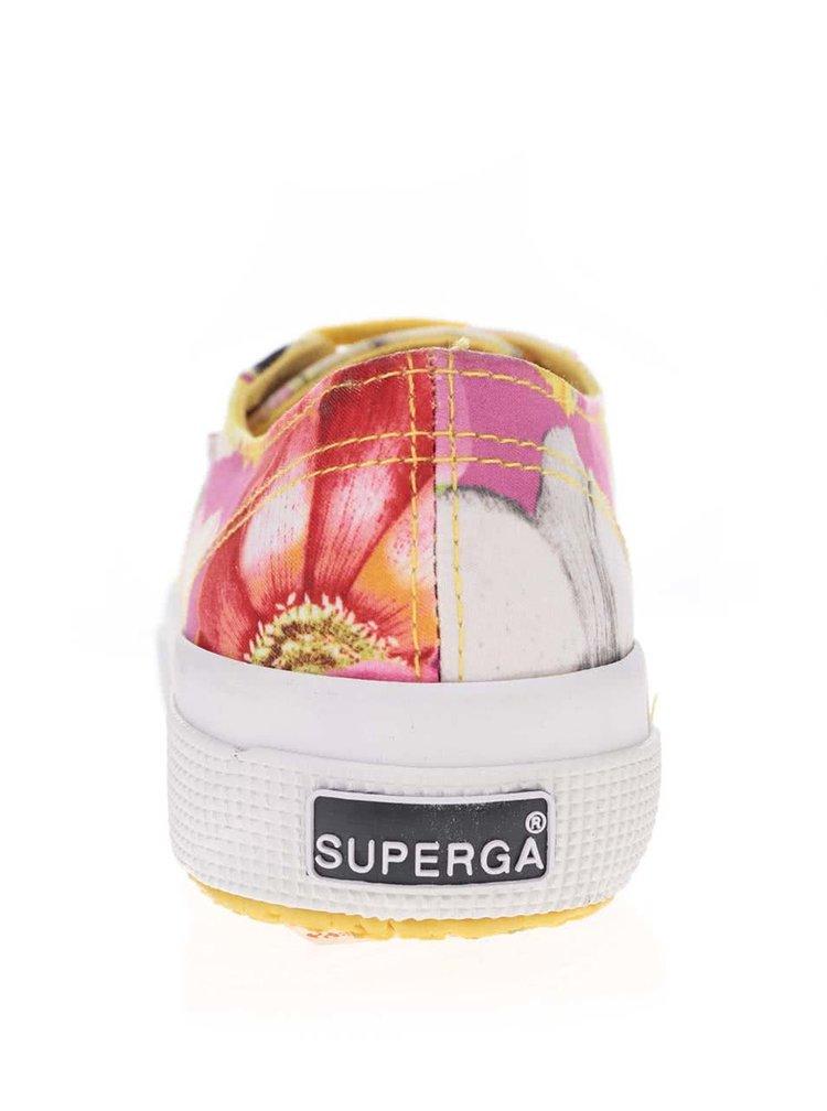 Růžovo-žluté dámské květinové tenisky Superga Fabris Anpl