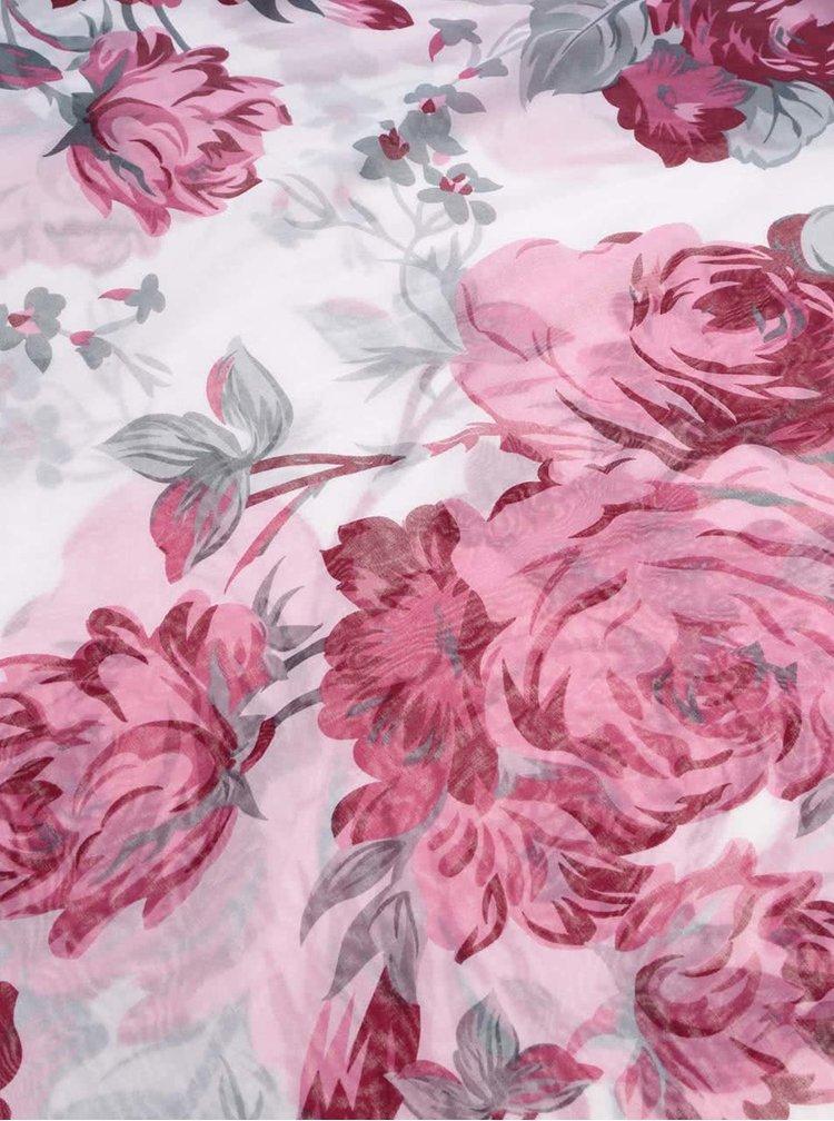 Eșarfă Pieces Ni albă cu imprimeu roz