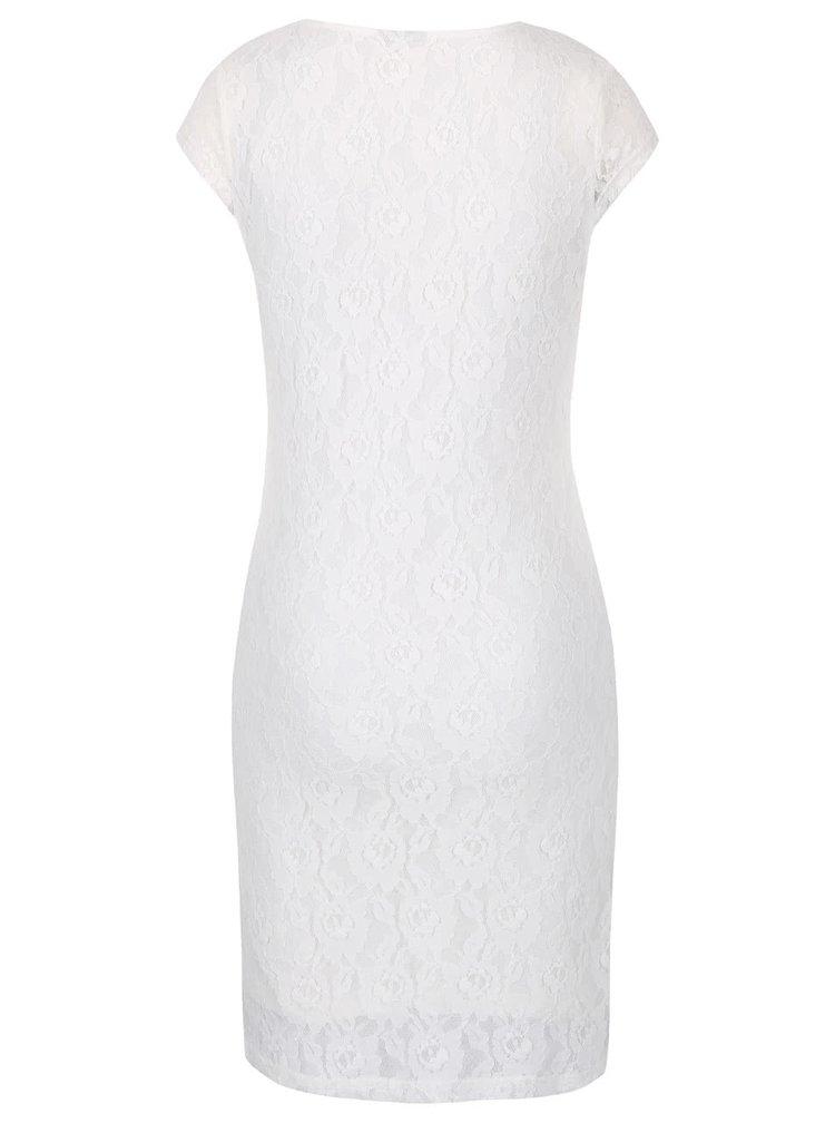 Krémové krajkové šaty s krátkým rukávem VERO MODA Lilly