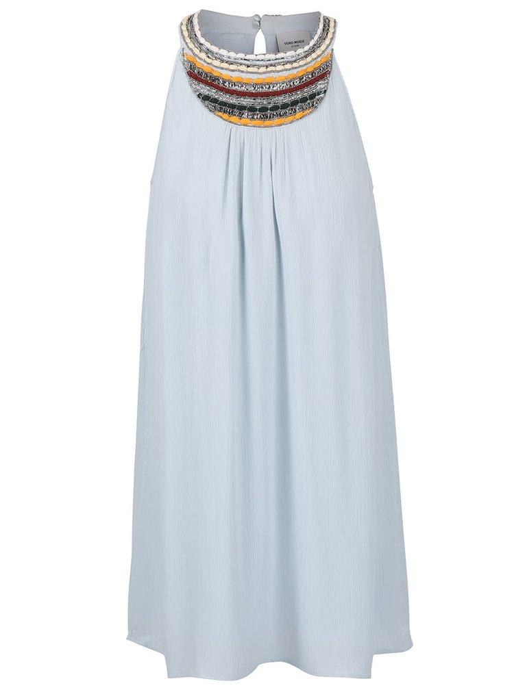 Světle modré šaty s ozdobným dekoltem VERO MODA Zura