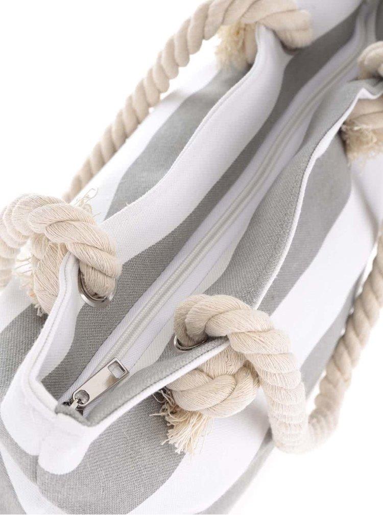 Geantă Dakls cu dungi alb cu gri