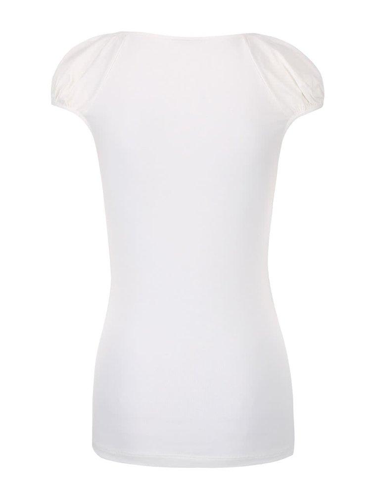 Krémové tričko s krajkovým výstřihem VERO MODA Inge