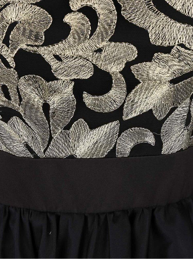 Černé šaty s metalickým vyšíváním Chi Chi London Sapphire