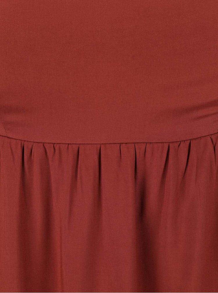 Cihlově červené maxišaty ONLY Nova Plain