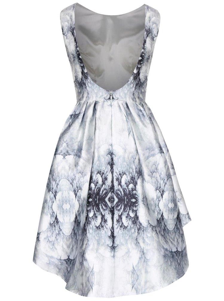 Modro-krémové vzorované šaty s odhalenými zády Chi Chi London Farrah