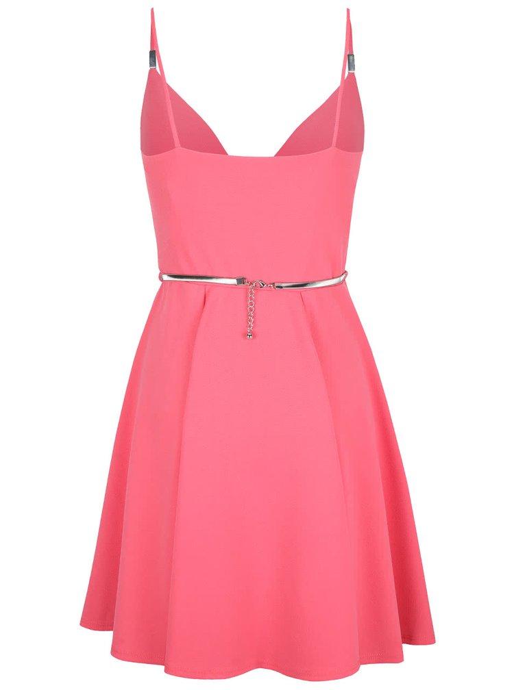 Růžové šaty s páskem ve stříbrné barvě Miss Selfridge