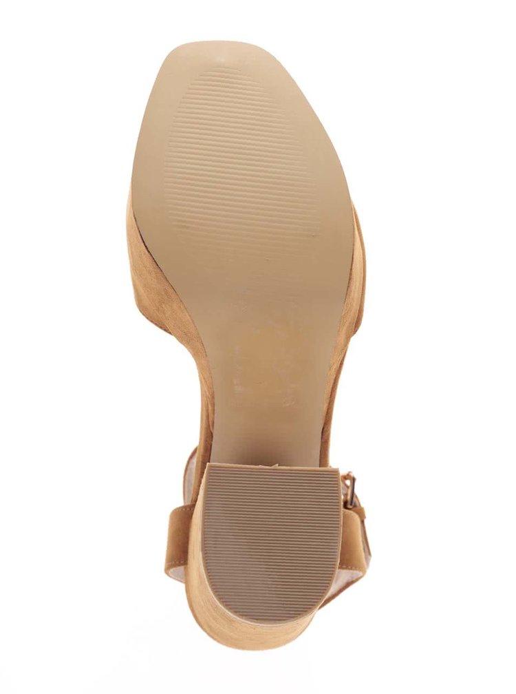 Sandale cu toc Miss Selfridge maro deschis