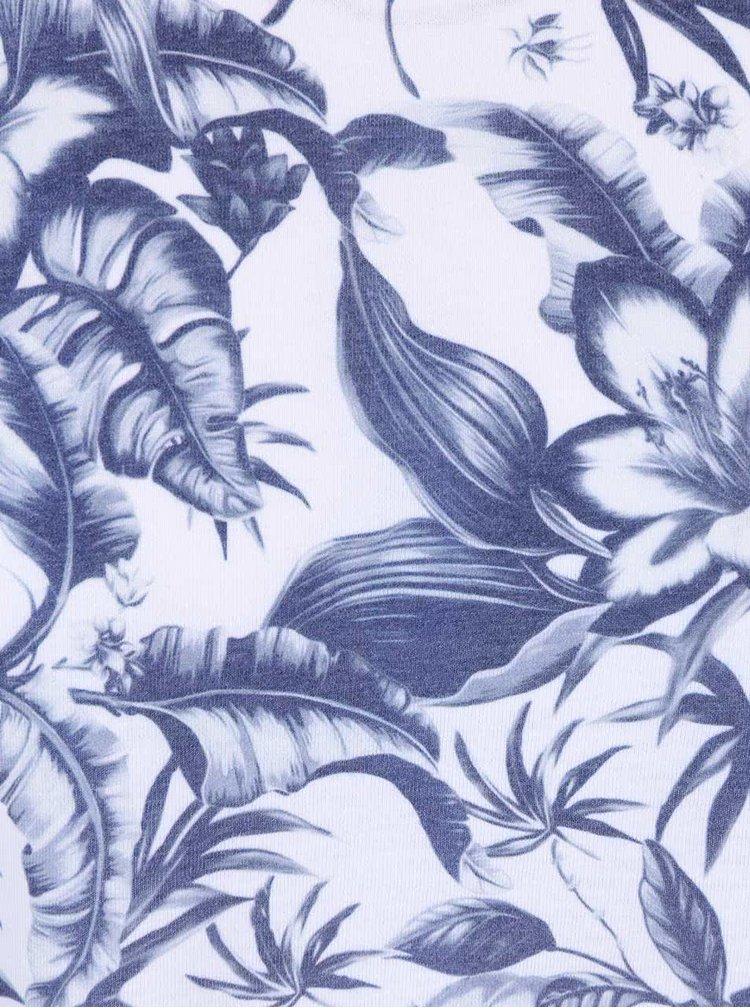 Bílé triko s modrým květinovým potiskem Burton Menswear London