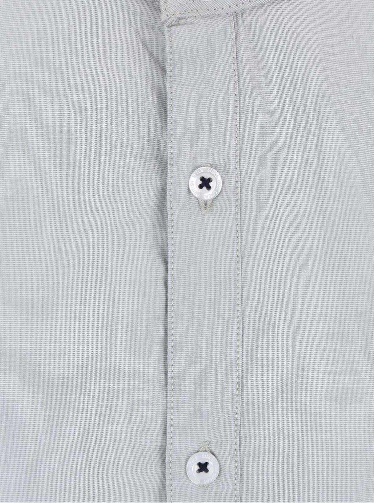 Šedá košile bez límečku Burton Menswear London