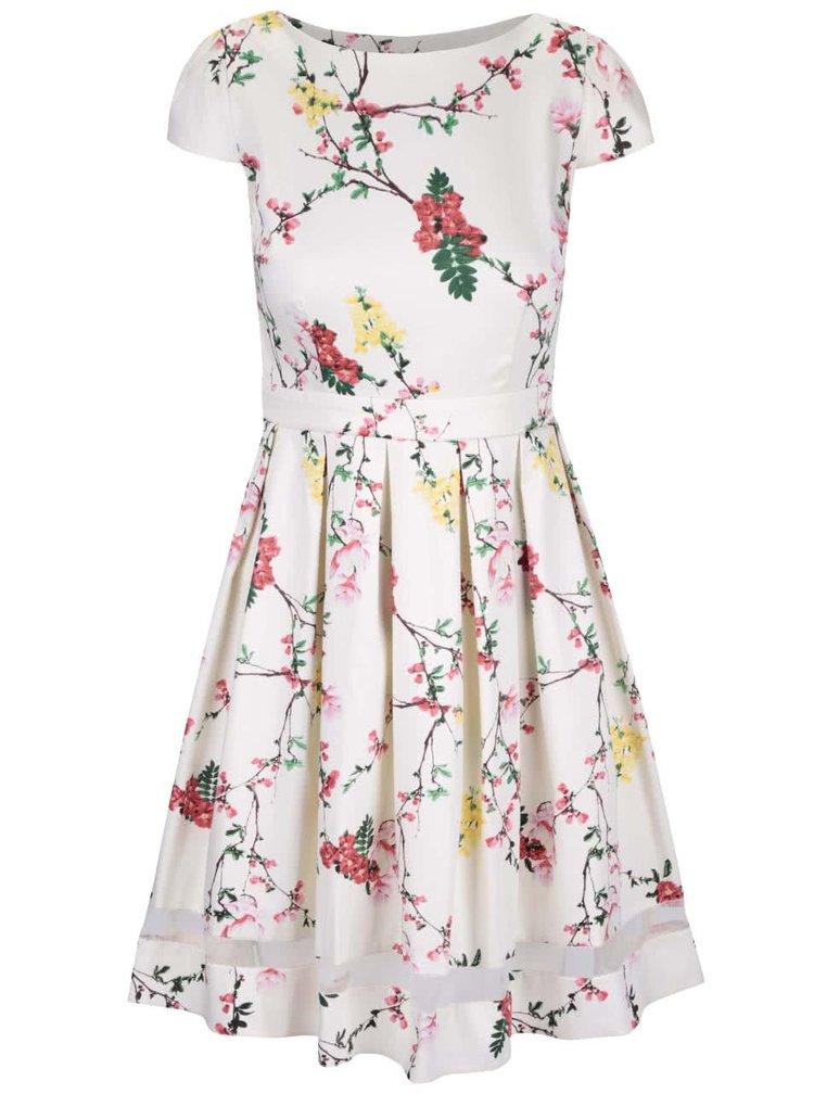 Krémové květinové šaty s pruhledným pruhem Dorothy Perkins