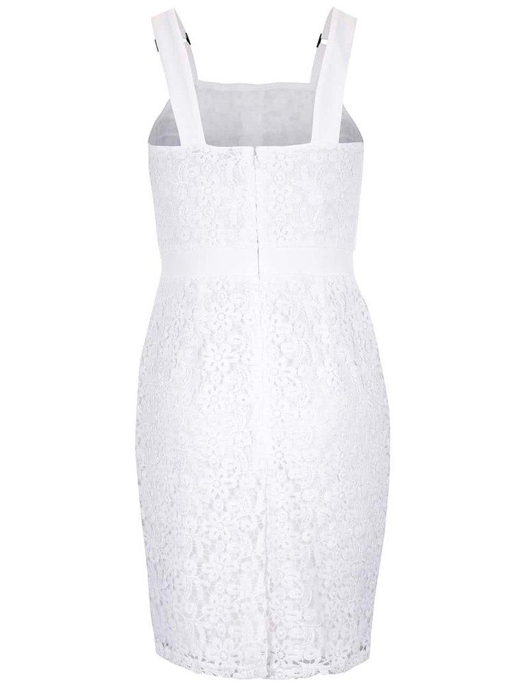 Krémovo-bílé krajkové šaty s ozdobnými knoflíky Dorothy Perkins