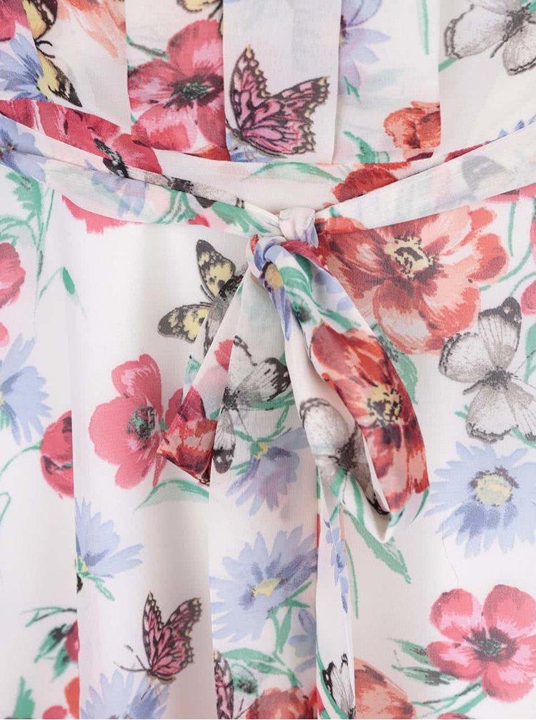 Krémové šaty s červenými květy a motýlky Dorothy Perkins