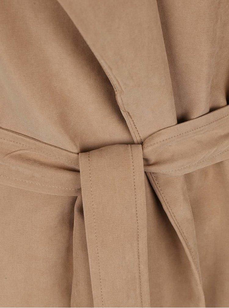 Hnedý kabát so zaväzovaním VILA Can