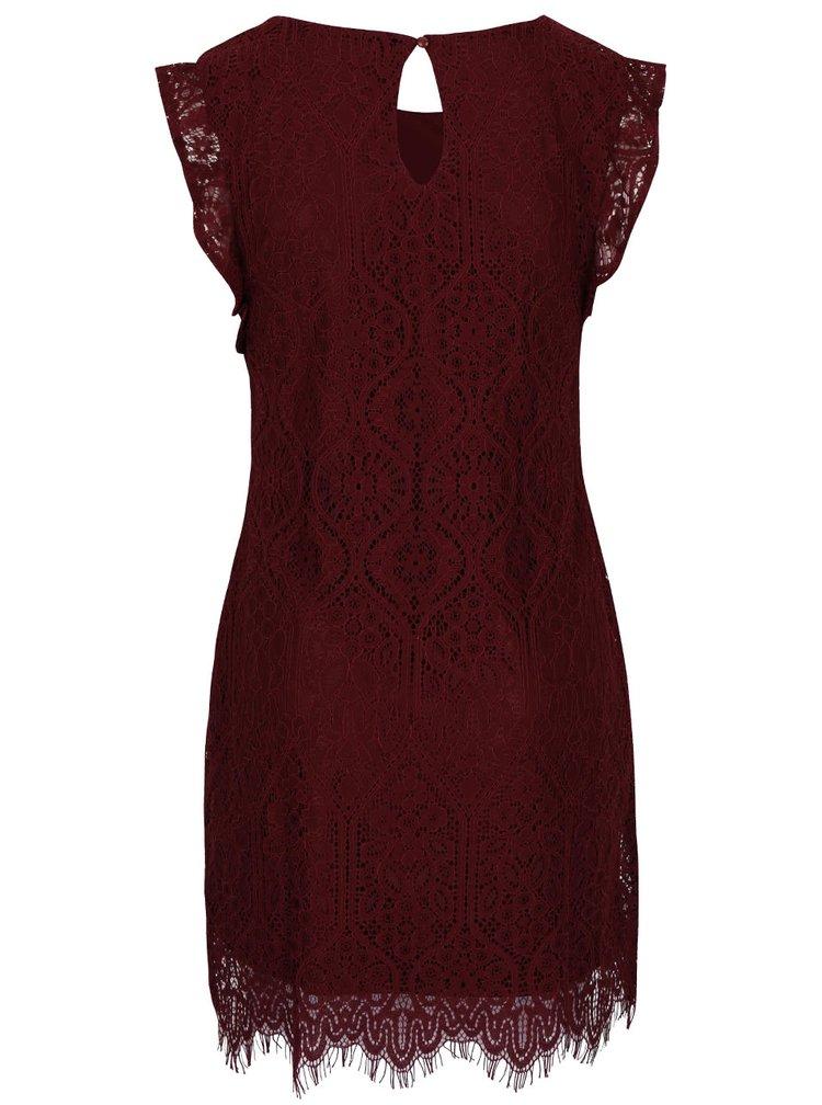 Vínové krajkované šaty VILA Filla