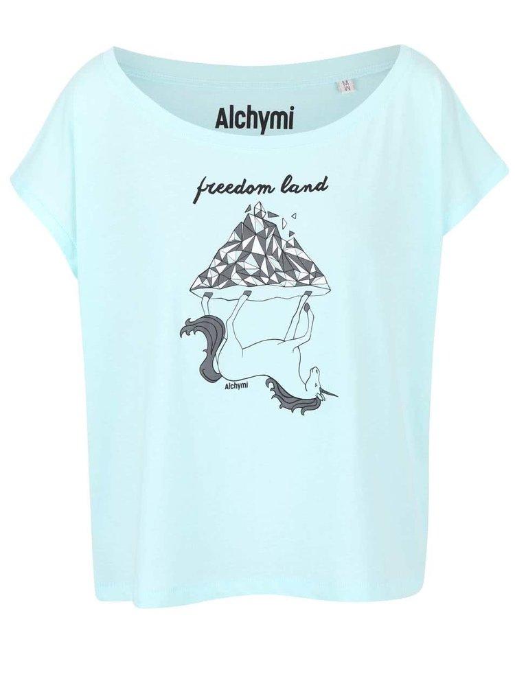 Mentolové volnější tričko s potiskem Alchymi