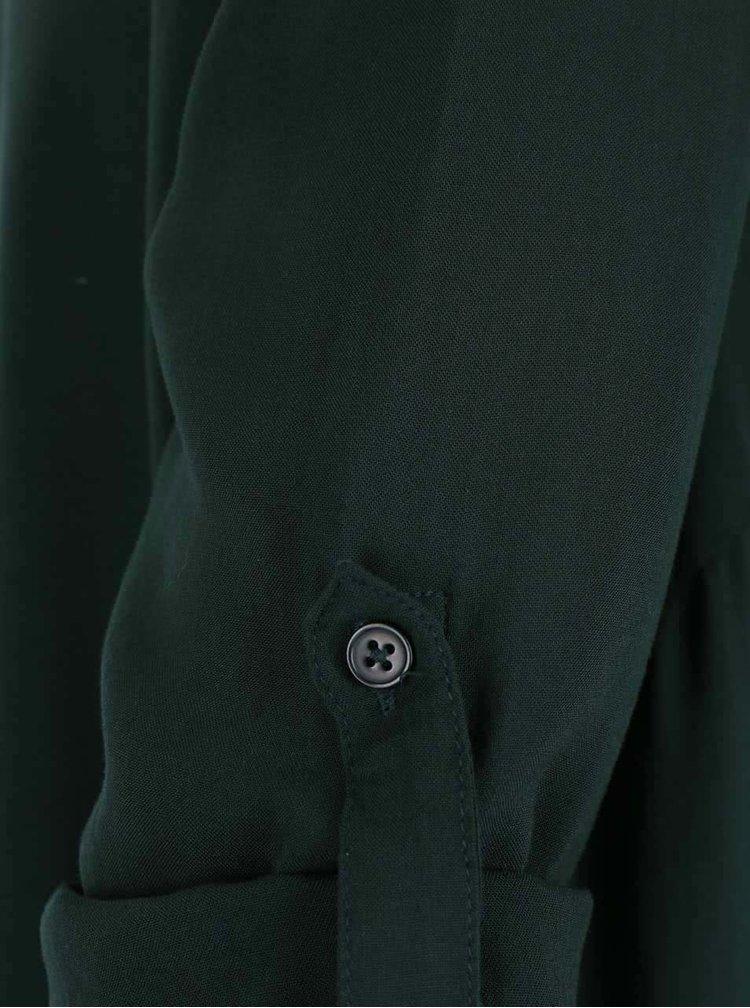Tmavozelená voľnejšia blúzka s 3/4 rukávmi ONLY Geggo